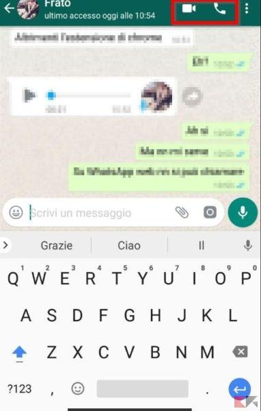 videochiamata WhatsApp