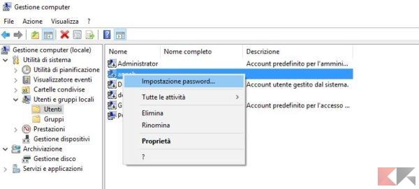 impostazione password utente windows 10