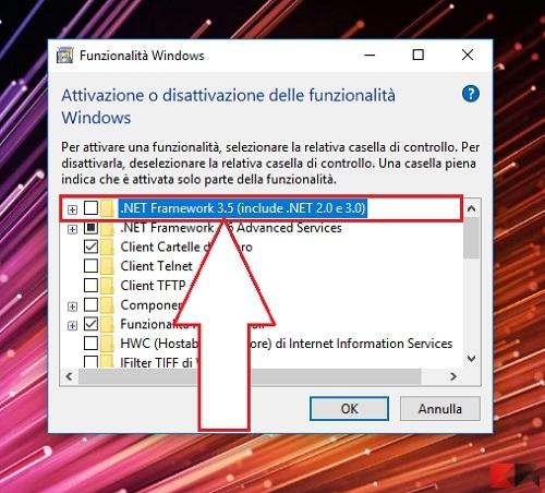 installare .net framework 2.0, 3.0 e 3.5 su Windows 10
