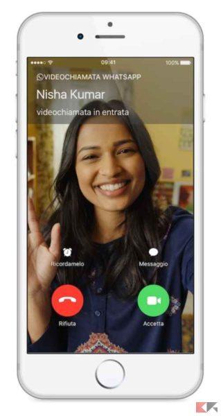 videochiamata WhatsApp iPhone