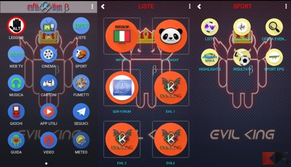 Tv satellitare : Evil King la migliore app su Android