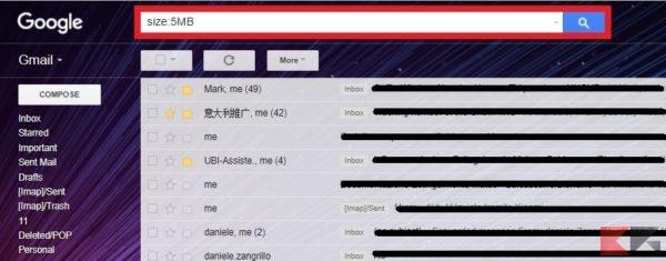 Cercare email per dimensione in Gmail