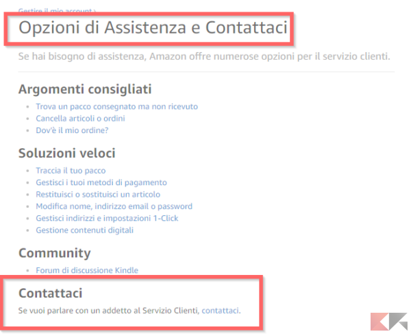 contattare assistenza amazon