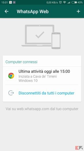 WhatsApp Web - lista pc connessi