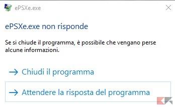 epsxe crash su Windows 10