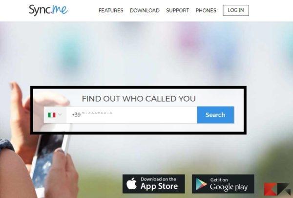 Scoprire a chi appartiene un numero di cellulare - Sync.ME