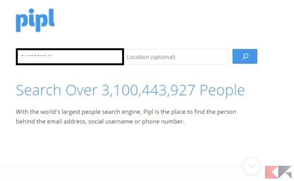Scoprire a chi appartiene un numero di cellulare - Pipl
