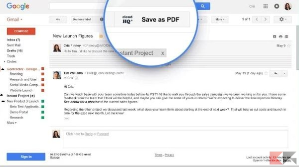 Salvare le email Gmail in PDF