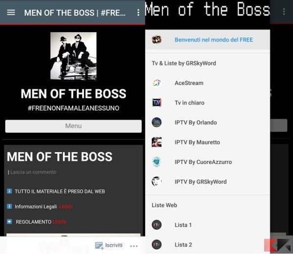 Men of the boss l'ottima app android per liste iptv sempre aggiornate