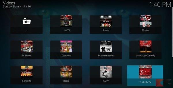 Addon kodi per Streaming 4k: uk turk playlist