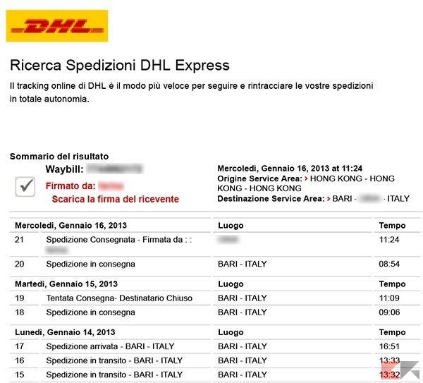 Come tracciare spedizione DHL