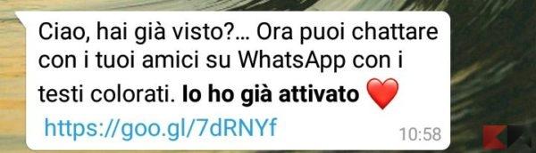 whatsapp testo a colori