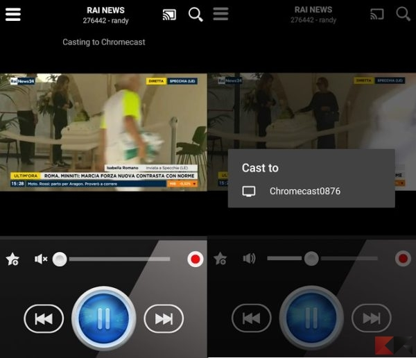 live stream player calcio chromecast