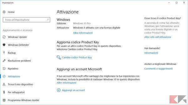 Attivare Windows 10 |  guida completa