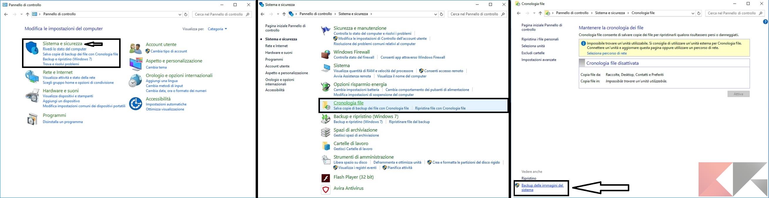 Backup e ripristino dei file in Windows 10