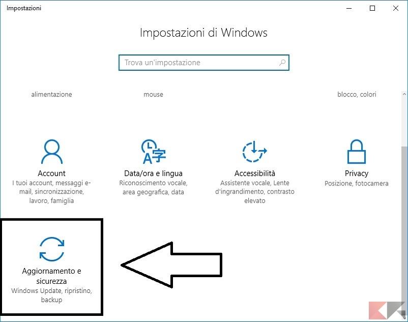 Come resettare un tablet Mediacom windows