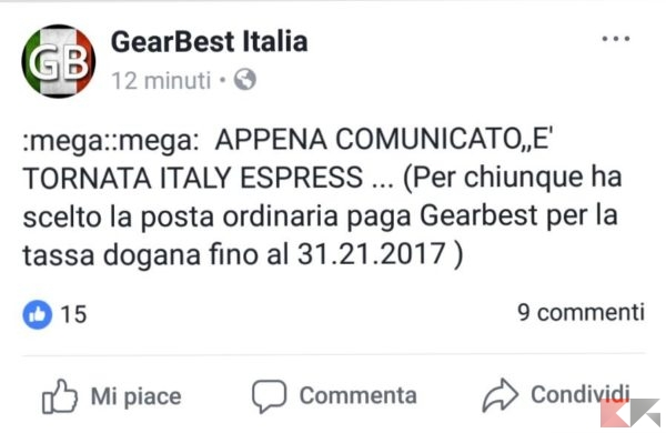 Gearbest italy express tornata