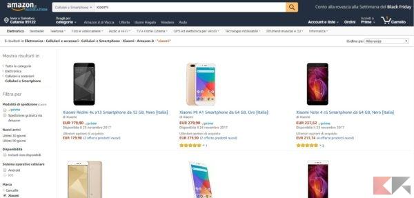 Xiaomi su Amazon italia