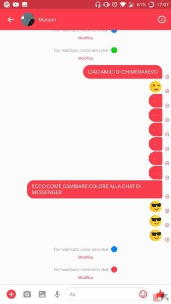 Come colorare conversazioni in Facebook Messenger