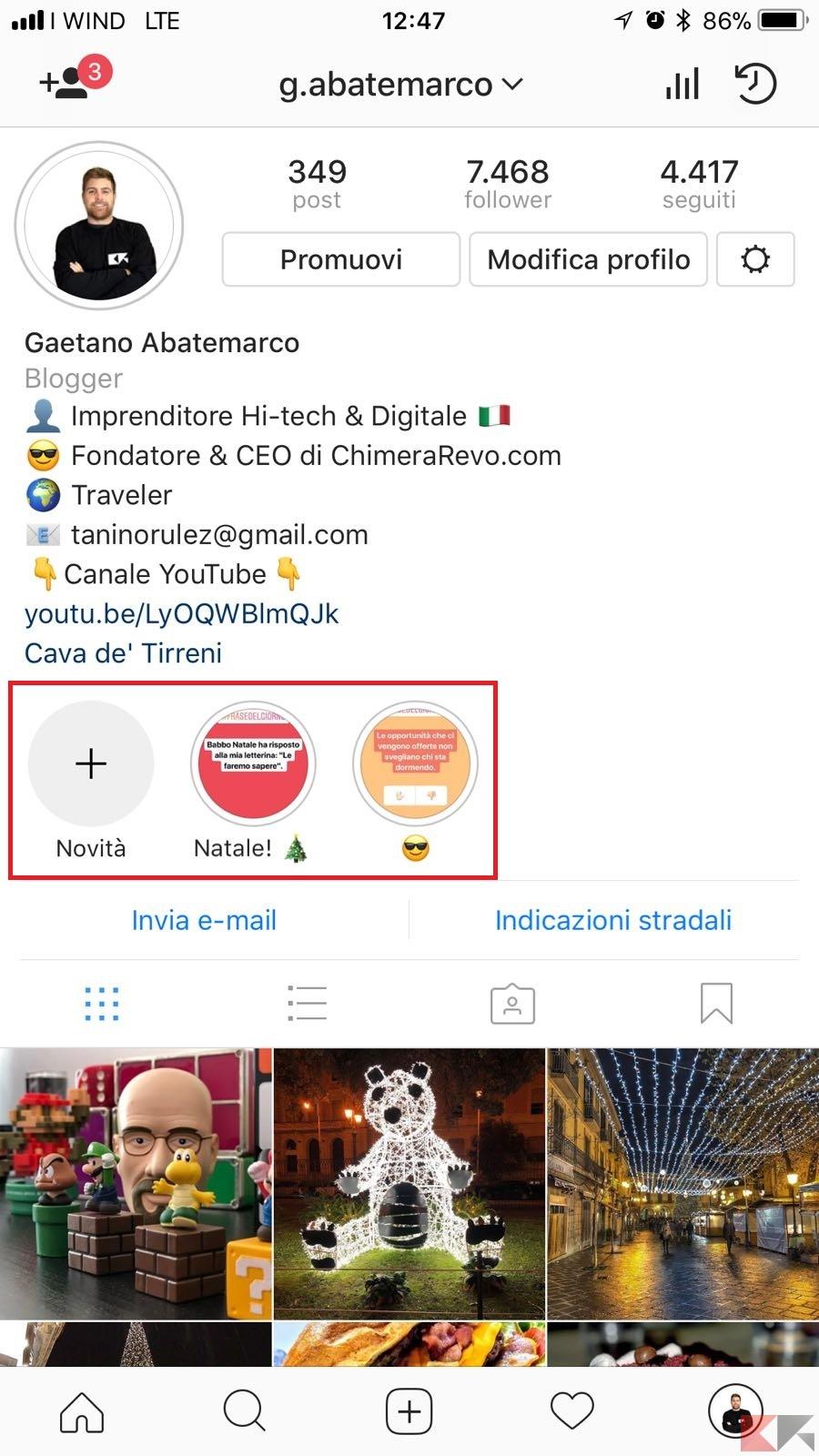 contenuti in evidenza instagram