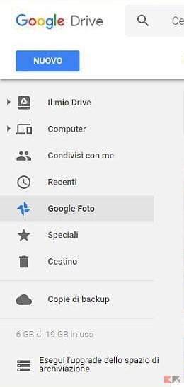 Google Drive |  da gennaio leggeri cambiamenti all'integrazione con Foto