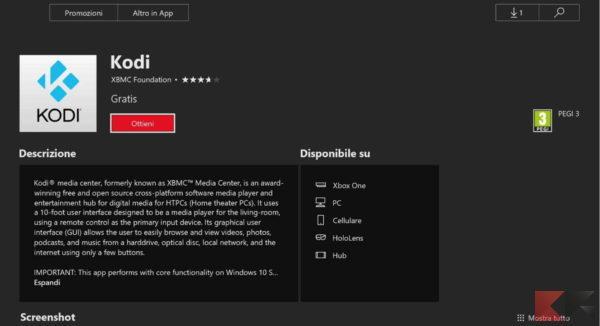 Kodi app Xbox One Store