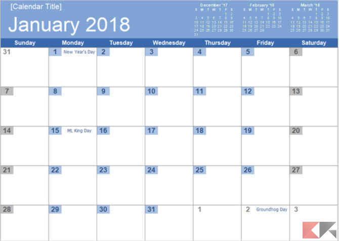 Modello Calendario Word.Template Calendario 2018 Per Microsoft Office Chimerarevo