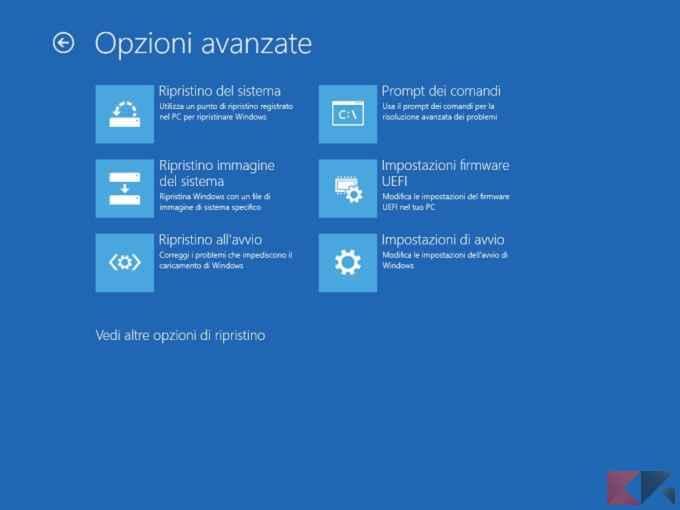 Opzioni Avanzate Windows