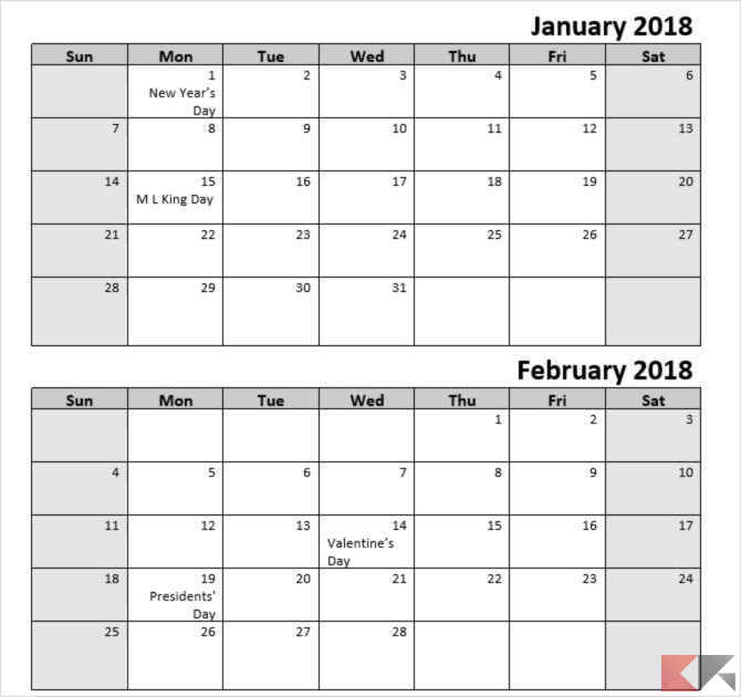 Calendario Appunti Da Stampare.Template Calendario 2018 Per Microsoft Office Chimerarevo