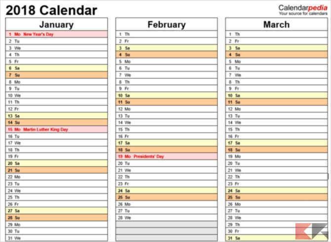 QuarterlyCalendarTemplate Calendarpedia1