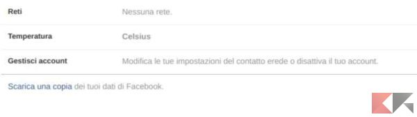scaricare dati facebook