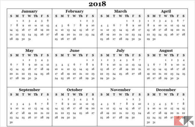 Year Calendar Sia : Template calendario per microsoft office