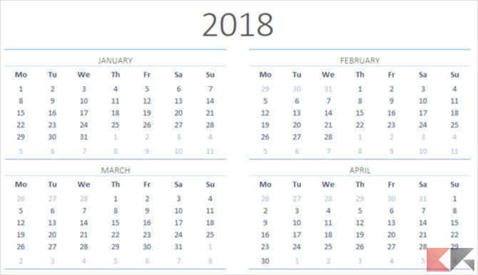 Calendario Annuale Excel.Template Calendario 2018 Per Microsoft Office Chimerarevo