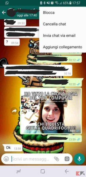 cancellare chat whatsapp