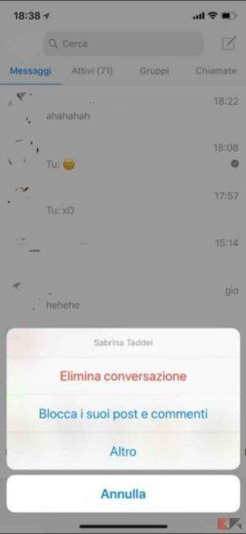 cancellare messaggi messenger