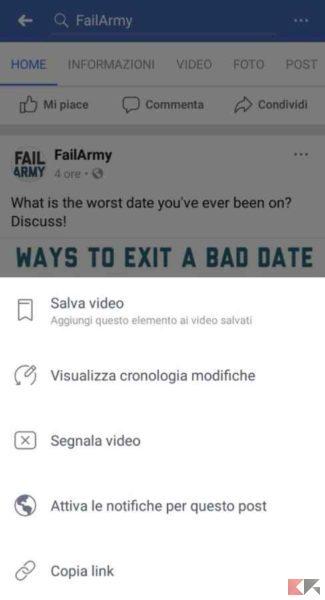 condividere video facebook