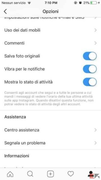 instagram ultimo accesso