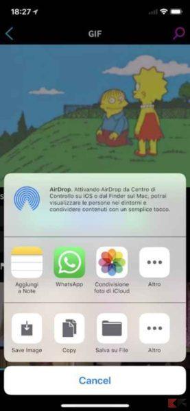 inviare gif whatsapp con iphone