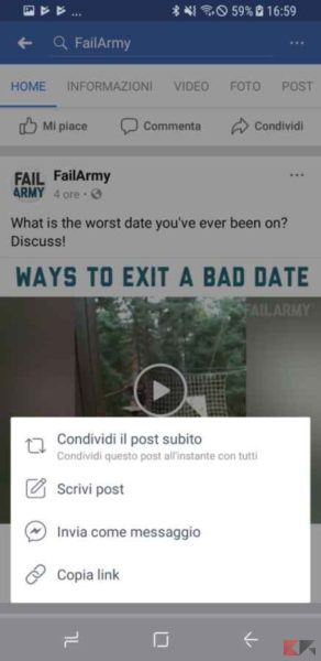 inviare video facebook