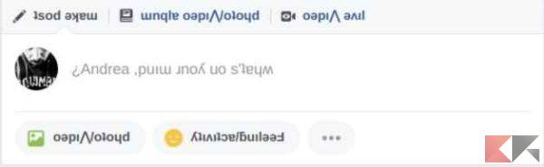 modalità upsidedown facebook