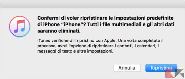 ripristinare iphone 1