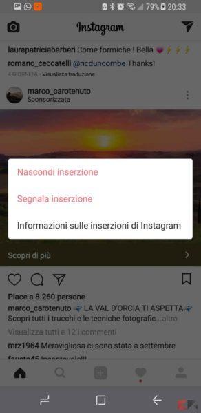 nascondere pubblicità instagram