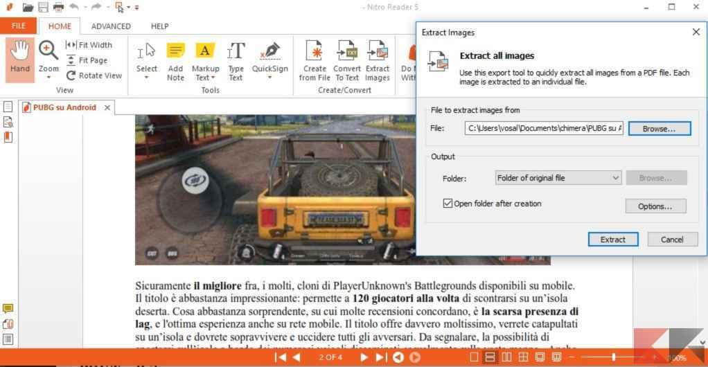 Estrarre immagini da PDF: Nitro Reader
