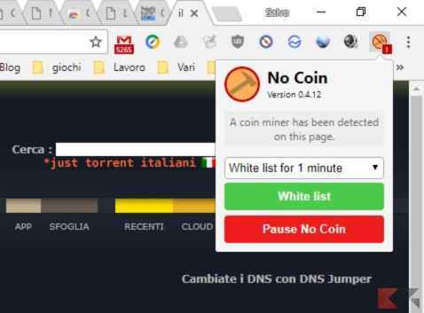 Bloccare script miner tramite No Coin