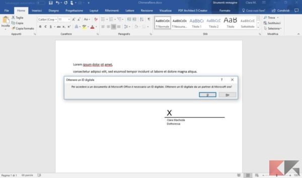come aggiungere firma in Word
