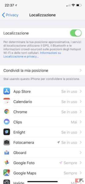 localizzazione iphone