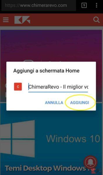 pagine e segnalibri Chrome sulla home di Android