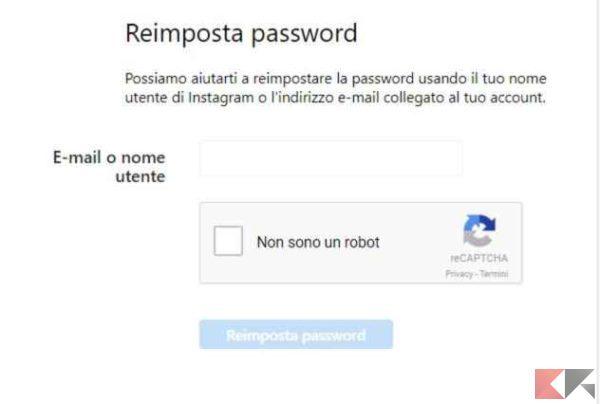 reimposta password instagram