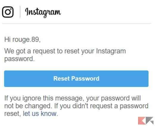 reset password instagam