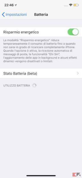 risparmio energetico iphone